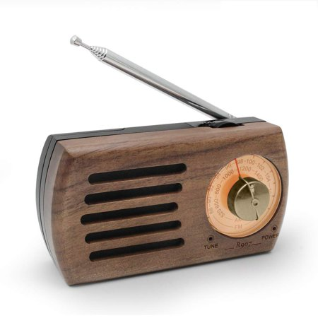 Portable AM/FM Pocket Radio, YUANJ Retro Walnut Wood Battery Operated Radio with Best Reception, Headphone Jack for Waliking, Jogging, and