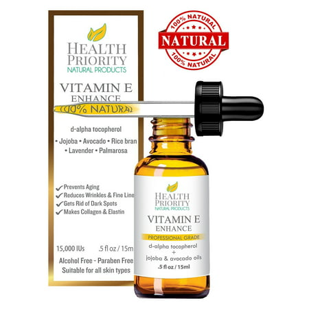 100% All Natural & Organic Vitamin E Oil For Your Face & Skin - 15000 IU - Reduces Wrinkles, Lightens Dark Spots, Heals Stretch Marks & Surgical Scars. Best Treatment for Hair, Nails, Lips & After