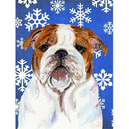 Carolines Treasures SS4622GF 11 x 15 In. Bulldog English Winter Snowflakes Holiday Flag, Garden Size - image 1 de 1