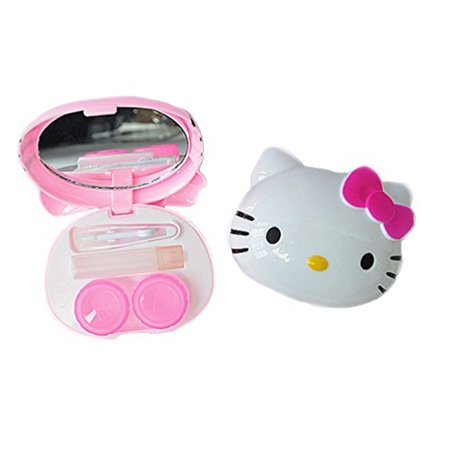 Hello Kitty Style Contact Lens Case Girls Eyeglass Lens Protection Travel Carrying Case  HK-CLC (Hello Kitty Contact Lenses Holder)