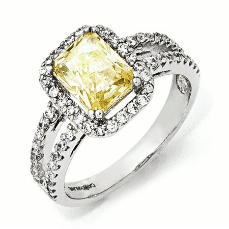 Cheryl M Sterling Silver CZ Canary Square Ring Size 8 - image 3 de 3