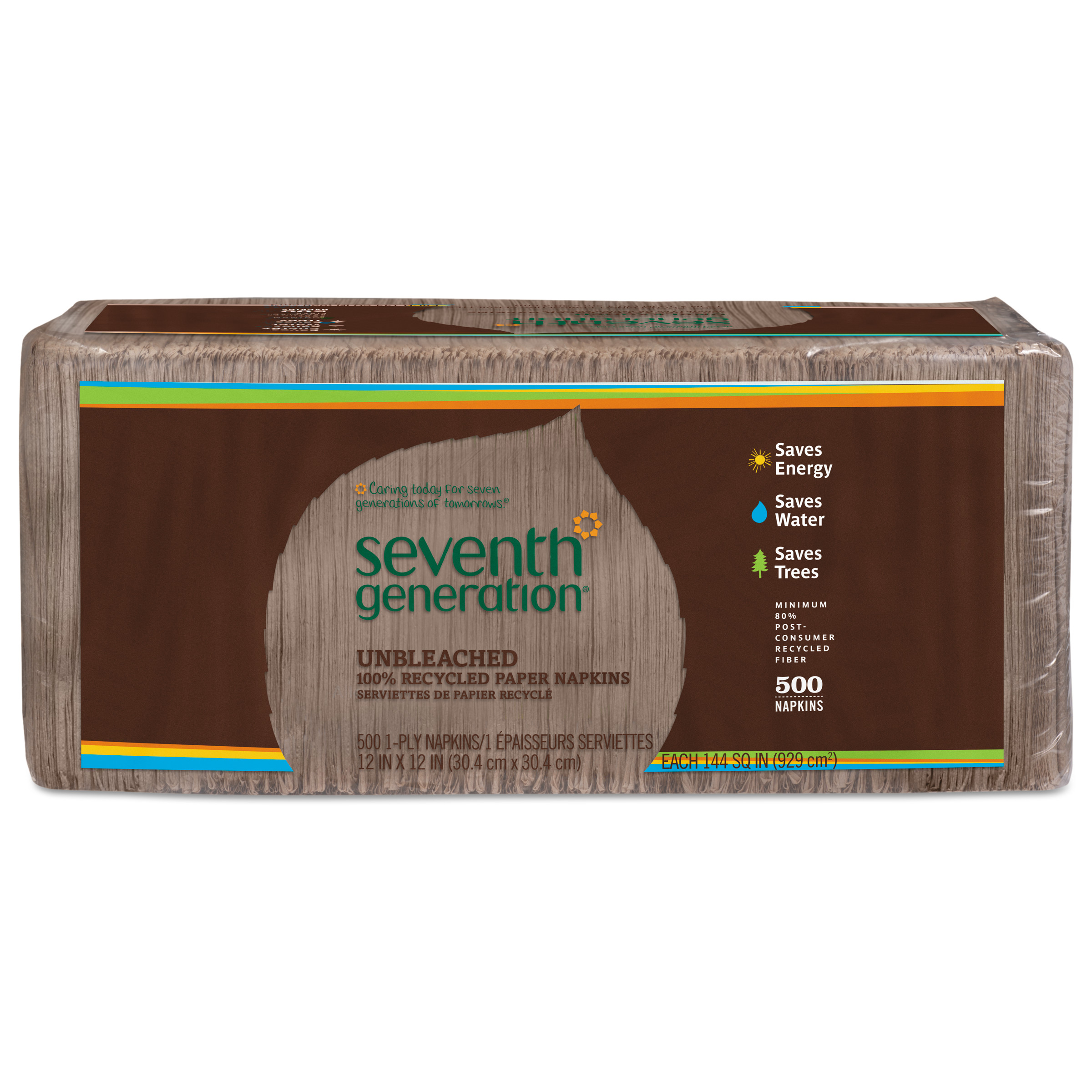 Seventh Generation 100% Recycled Unbleached Paper Napkins, 1-ply, 500 count