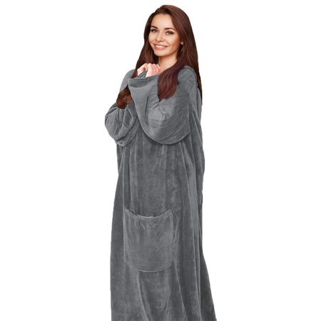 Silver One Luxury Adult Wearable Velvet Plush Throw Blanket Robe with Sleeves & Front Pocket All Season Decorative for Bed or Couch | 60