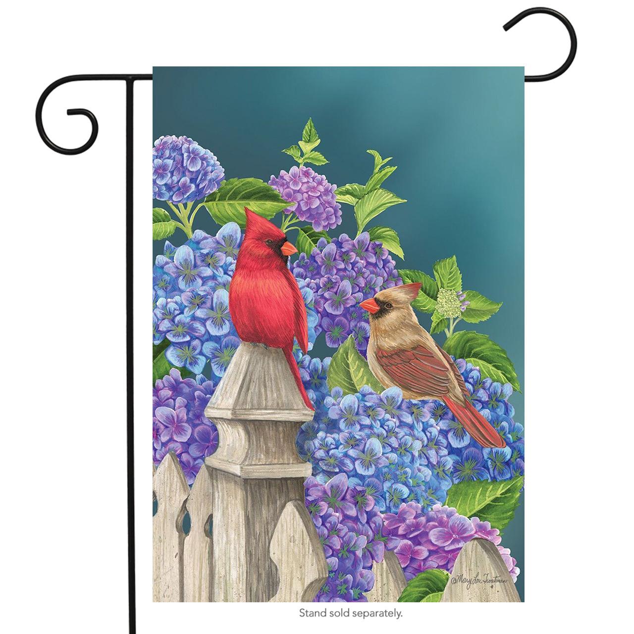 "Cardinals and Hydrangeas Spring Garden Flag Fencepost Floral Birds 12.5"" x 18"""