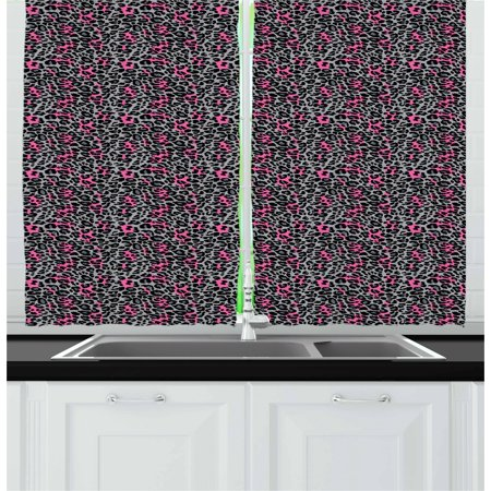 Leopard Print Curtains 2 Panels Set, African Safari Animal Pattern Nature Inspired Fashion Cheetah Panther, Window Drapes for Living Room Bedroom, 55W X 39L Inches, Pink Grey Black, by Ambesonne ()