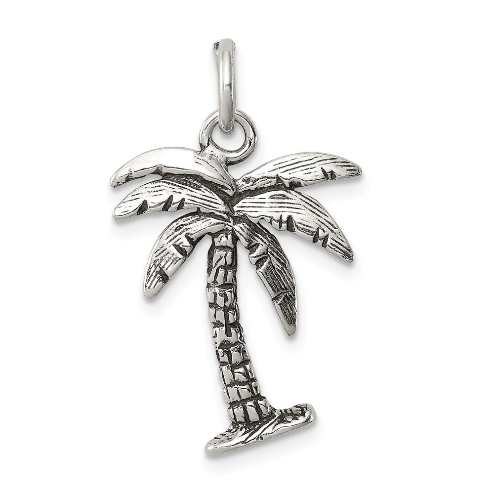 Sterling Silver Antiqued Palm Tree Charm (0.8in long x 0.6in wide)