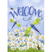 """Dragonfly Welcome Summer House Flag Meadow Daisies Bumblebees 28""""x40"""""""