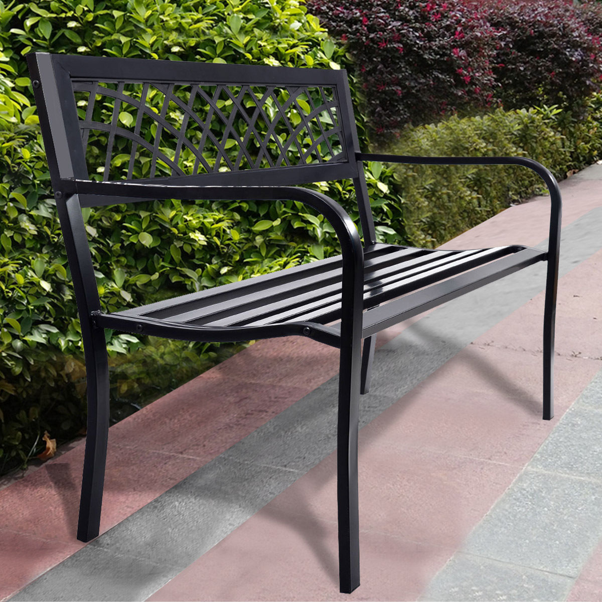 Product Image Costway Patio Park Garden Bench Porch Path Chair Outdoor Deck  Steel Frame