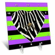 3dRose Punk Rockabilly Zebra Heart Purple Green Black Print - Desk Clock, 6 by 6-inch