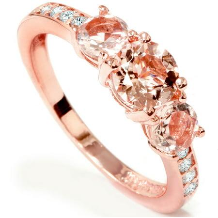 1Ct Morganite   Diamond 3 Stone Ring 10K Rose Gold