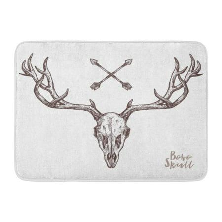KDAGR Watercolor Bison Sketch of Deer Skull Tribal Arrows Boho Head Cow Emblem Doormat Floor Rug Bath Mat 23.6x15.7