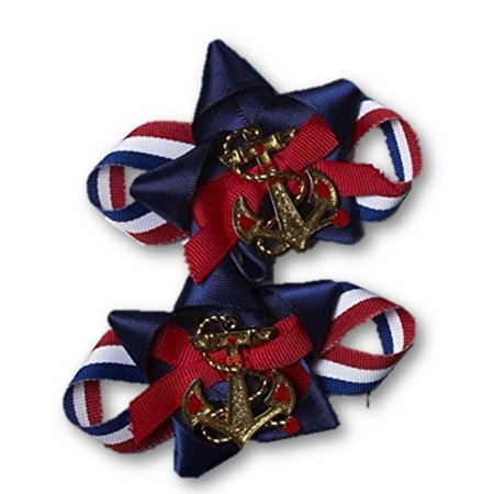 Lady In The Navy Shoe Clips Patriotic Anchor Set Bows Adult Costume Accessory - image 1 of 1
