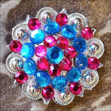 HILASON BLUE FUCHSIA CRYSTAL 1-1/4in BERRY CONCHO RHINESTONE HEADSTALL SADDLE COWGIRL