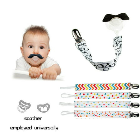 4Pcs/Set Pacifier Clips –Magicfly Unisex Pacifier Clip Teething Ring Holders Modern Design for Boys and Girls, Teething Ring Toys, Baby Blankets, Baby Drool Bibs