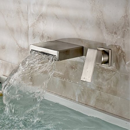 Oulantron Brushed Nickel Waterfall Bath Sink Faucet Wall Mount