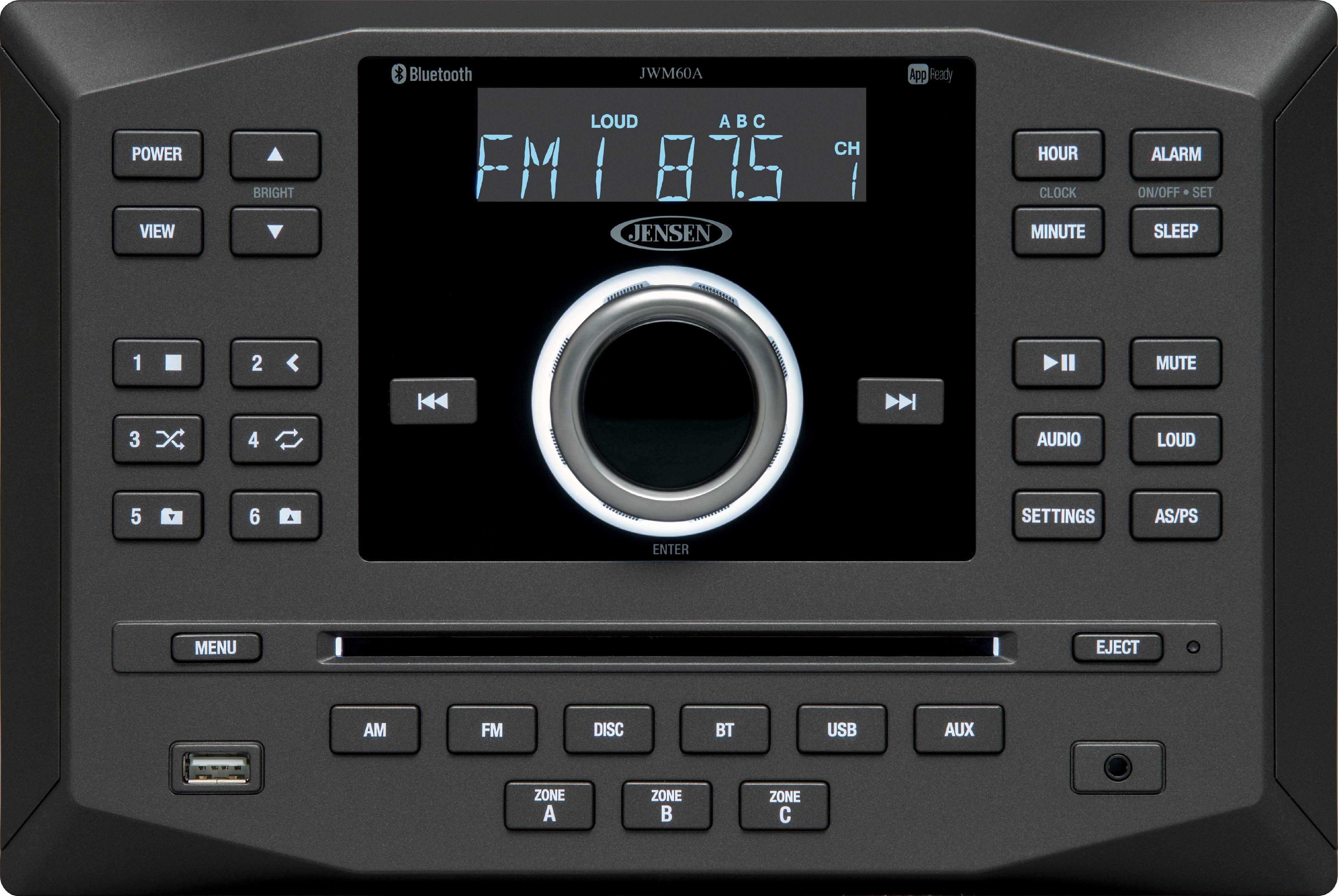 Jensen JWM60A AM|FM|DVD|CD|USB|AUX|RCA|App Ready Bluetooth Wallmount Stereo with App Control, Plays: CD, CD-R,... by Asa