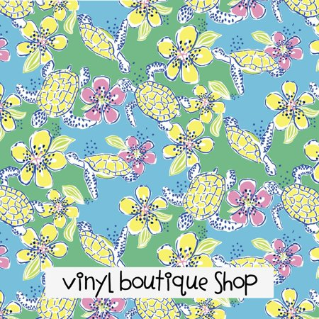 Moving Slowly Turtle Floral Lilly Inspired Printed Patterned Craft Vinyl