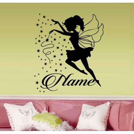Fairy Wand with Stars ( Custom Name ) Wall Decal 22