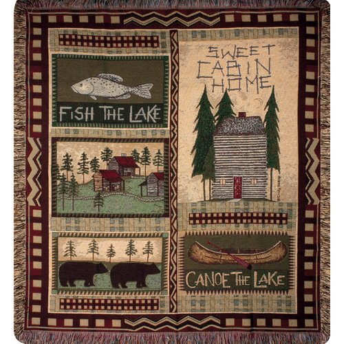 Manual Woodworkers & Weavers Big Bear Lodge Tapestry Throw