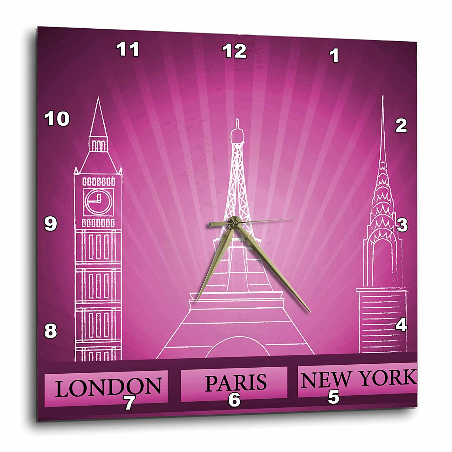 3dRose London, Paris, and New York Historical Structures In Purple, Wall Clock, 10 by 10-inch