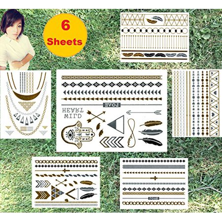 Super Metallic Gold Silver Black Jewelry Temporary Bling Tattoo 6 Sheets Pack (L1 Style)](Jewelry Tattoos)