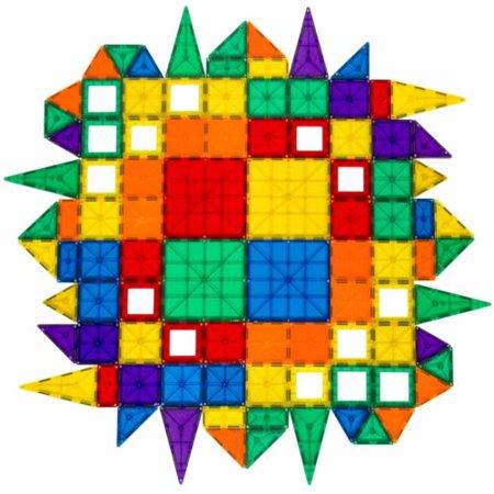 100 Piece Toy - 100-piece Clear Assorted Colors 3D Magnetic Tiles, Educational STEM Toy Building Set
