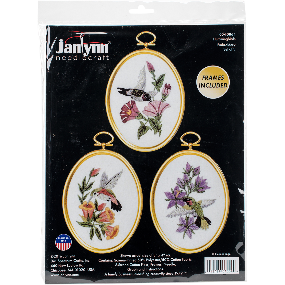 """Janlynn Winter Birds Embroidery Kit Set Of 3-3/""""X4/"""" Stitched In Floss"""