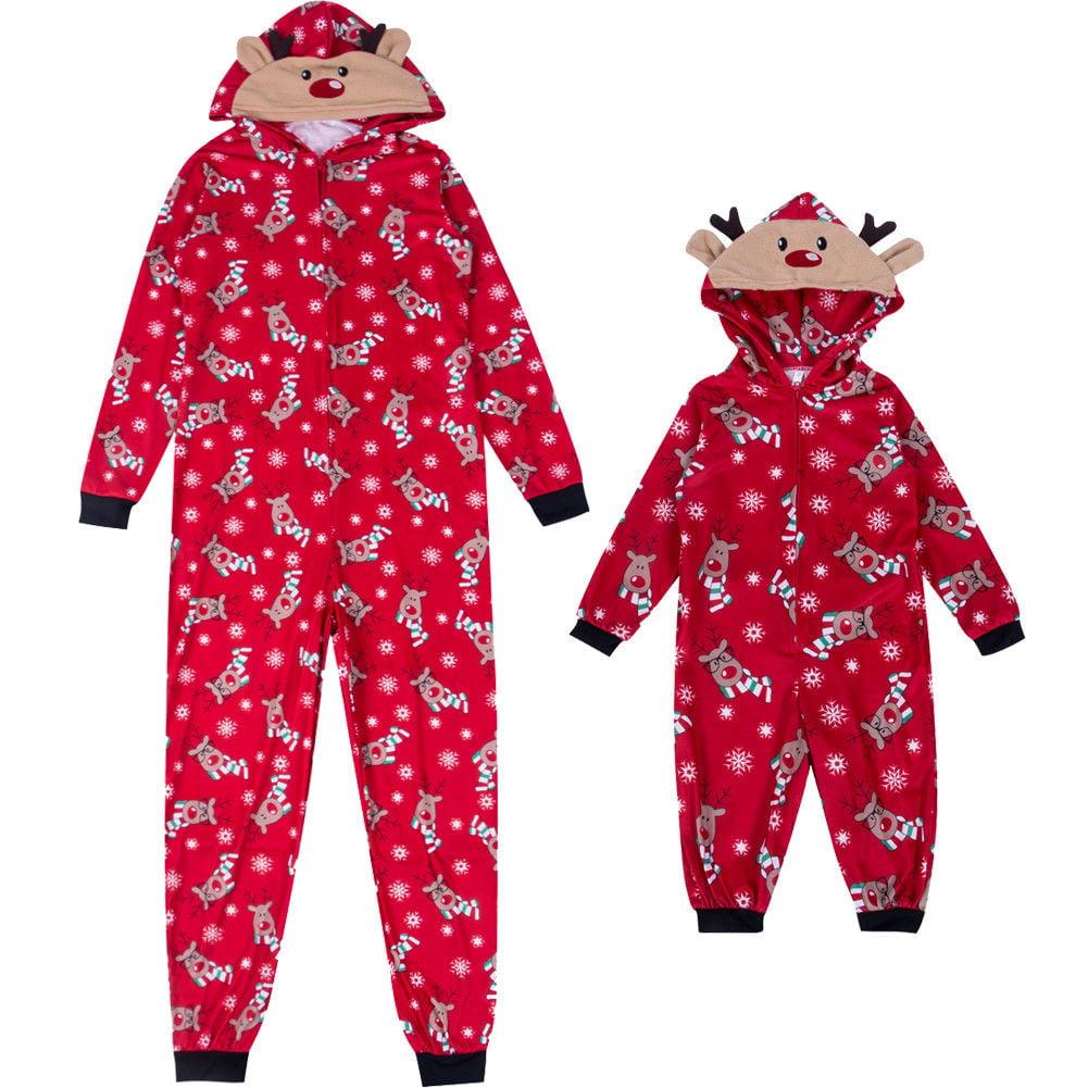 c893de5555 Hirigin - Family Matching Christmas Pajamas Set Mom Dad Kids Deer Sleepwear  Nightwear Zip - Walmart.com