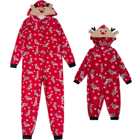 Family Matching Christmas Pajamas Set Mom Dad Kids Deer Sleepwear Nightwear Zip ()