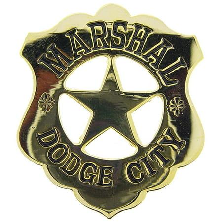 "Dodge City Marshall Badge Pin Gold Plated 2"""