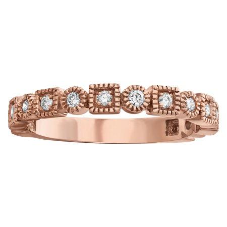Diamond Vintage Inspired Ring (Women's 10kt Rose Gold 1/4ct Diamonds Vintage Inspired Anniversary Wedding Band)