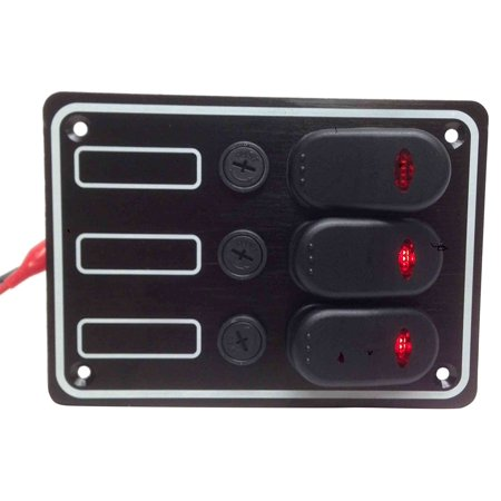 Gang Fuse Panel - Pactrade Marine Boat 3 Gang Auto Fuse Splash Proof Switch Panel with LED ODM