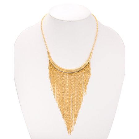 TAZZA WOMEN'S GOLD-TONE MULTI LAYERED CHAIN TASSEL FRINGE STATEMENT NECKLACE #SQCBA-030415-104