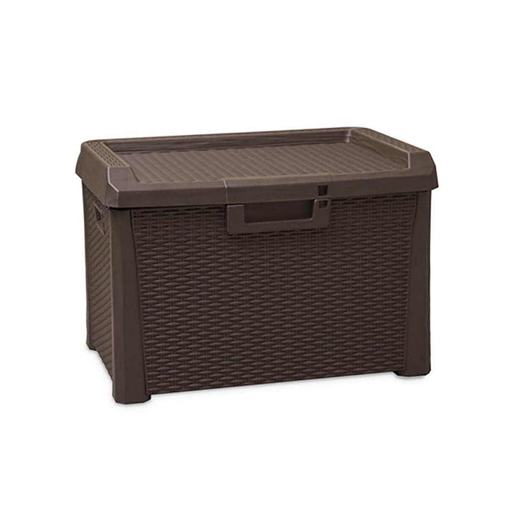 Toomax 33 Gal. Wicker-Style Santorini Compact Outdoor Storage Deck Box, Brown by Toomax
