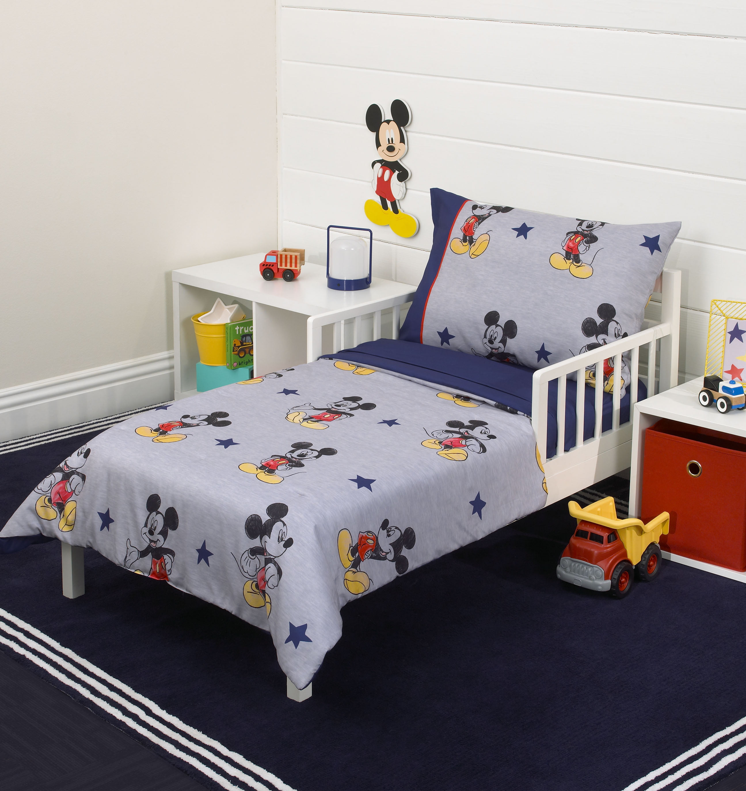 buy popular cb2e3 c081f Mickey Mouse 90th Birthday 4-Piece Toddler Bed Set - Quilted Comforter,  Fitted Sheet, Flat Sheet and Standard Size Pillowcase