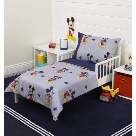 Mickey Mouse 90th Birthday 4-Piece Toddler Bed Set - Quilted Comforter, Fitted Sheet, Flat Sheet and Standard Size Pillowcase for $<!---->
