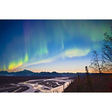 View Of Northern Lights In The Sky Above Southside Mount Mckinley And The Alaska Range At Twilight Chulitna River In The Foreground Denali State Park Southcentral Alaska Spring Canvas Art   Kevin Smit