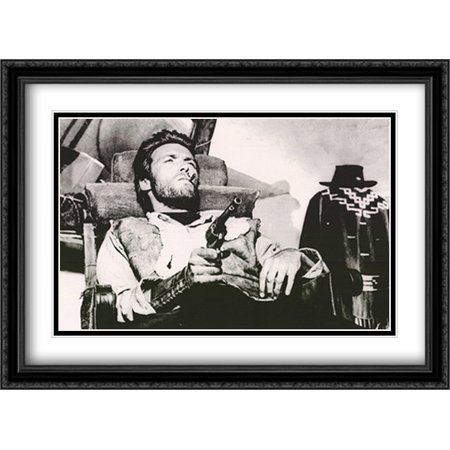 Clint Eastwood  A Few Dollars Or More 38X28 Double Matted Large Black Ornate Framed Movie Poster Art Print