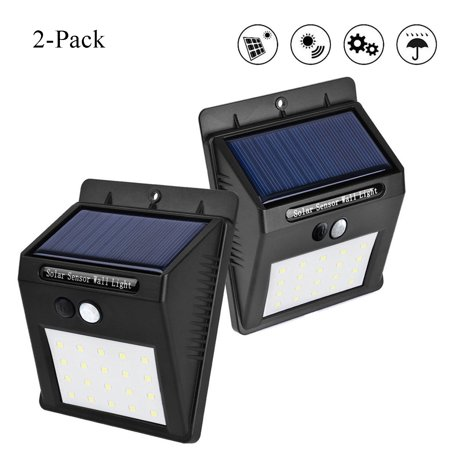 Solar Outdoor Lights, 20 LED Waterproof Solar Powered Motion Sensor Light with 3 Modes Outdoor Security Lights Wireless Wall Lamp for Porch Patio Garden Path Outside (2 Pack) ()