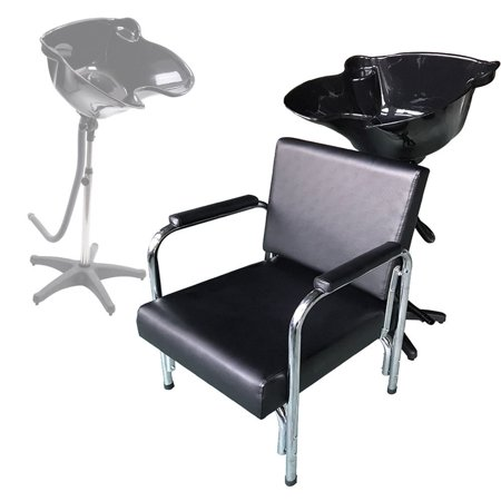Zimtown Shampoo Bowl and Chair Combo, 0 5L Height Adjustable Lightweight  Hair Backwash Basin Bowls Sink with Recline Barber Chair, Barber Shop  Station