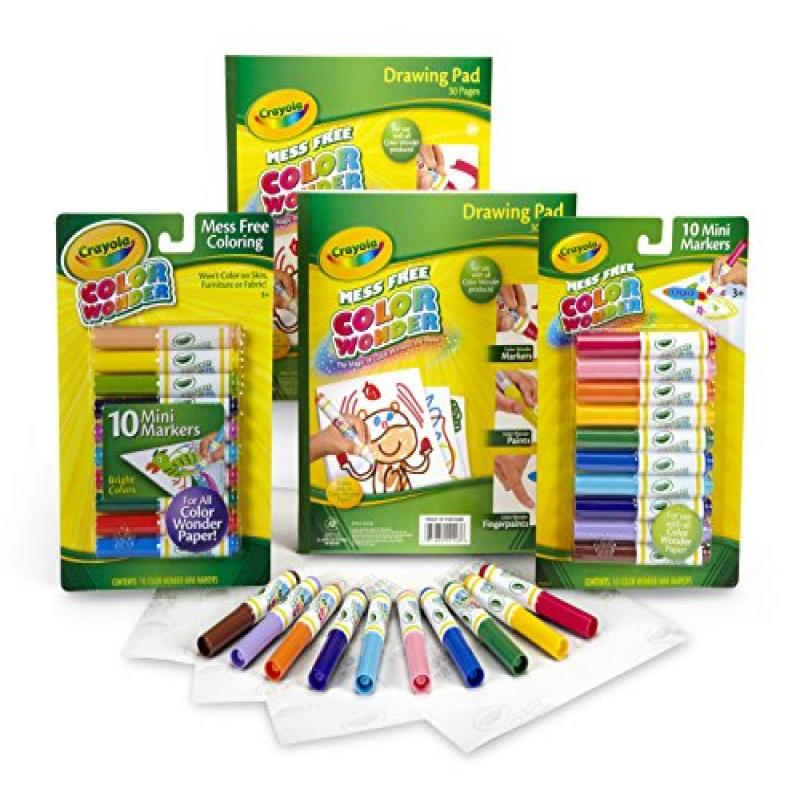 Crayola Color Wonder Set with 10 count Mess Free Markers and 2 Drawing Pads