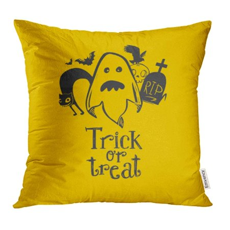 ARHOME Ghost with Friends and Trick Treat Raster Copy Happy Halloween to Party Cloud Pillow Case Pillow Cover 18x18 inch Throw Pillow - Happy Tree Friends Halloween Episodes