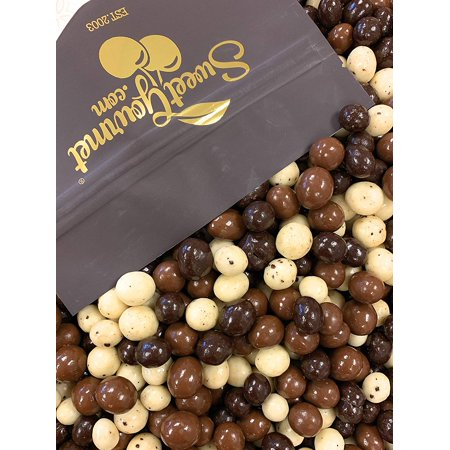 SweetGourmet Chocolate Covered Espresso Beans Blend - White, Milk & Dark Chocolate, 1Lb (Chocolate Covered Halloween Apples)