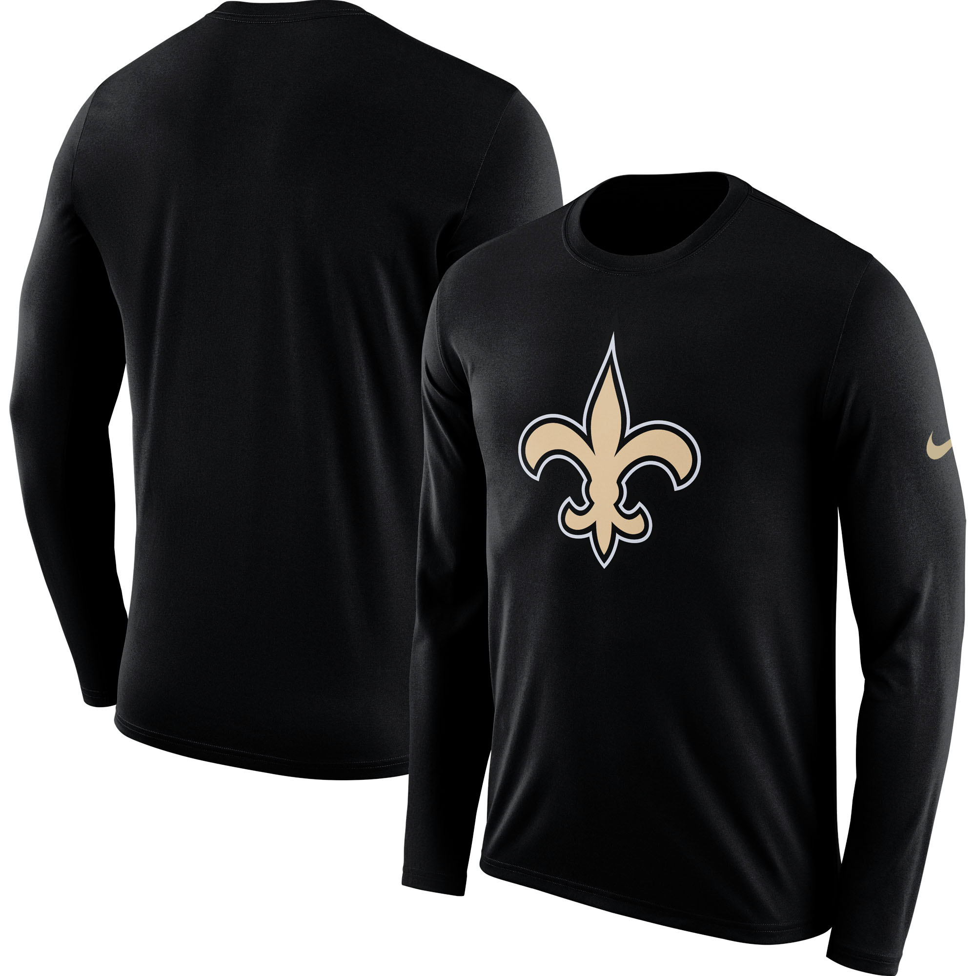 New Orleans Saints Nike Fan Gear Primary Logo Long Sleeve Performance T-Shirt - Black