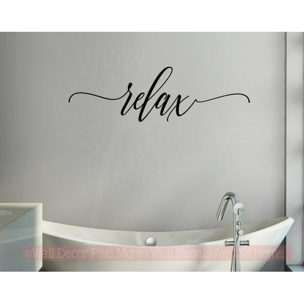 Bathroom Wall Decor Relax Cursive, Bathroom Wall Art Stickers