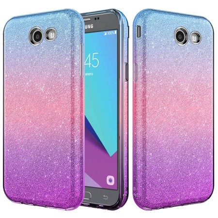 brand new af4af aecbb Samsung Galaxy J3 Emerge Case, J3 Prime, Galaxy Amp Prime 2, Express Prime  2, Slim Glitter Shine Hybrid TPU Case with reinforced Polycarbonate backing  ...