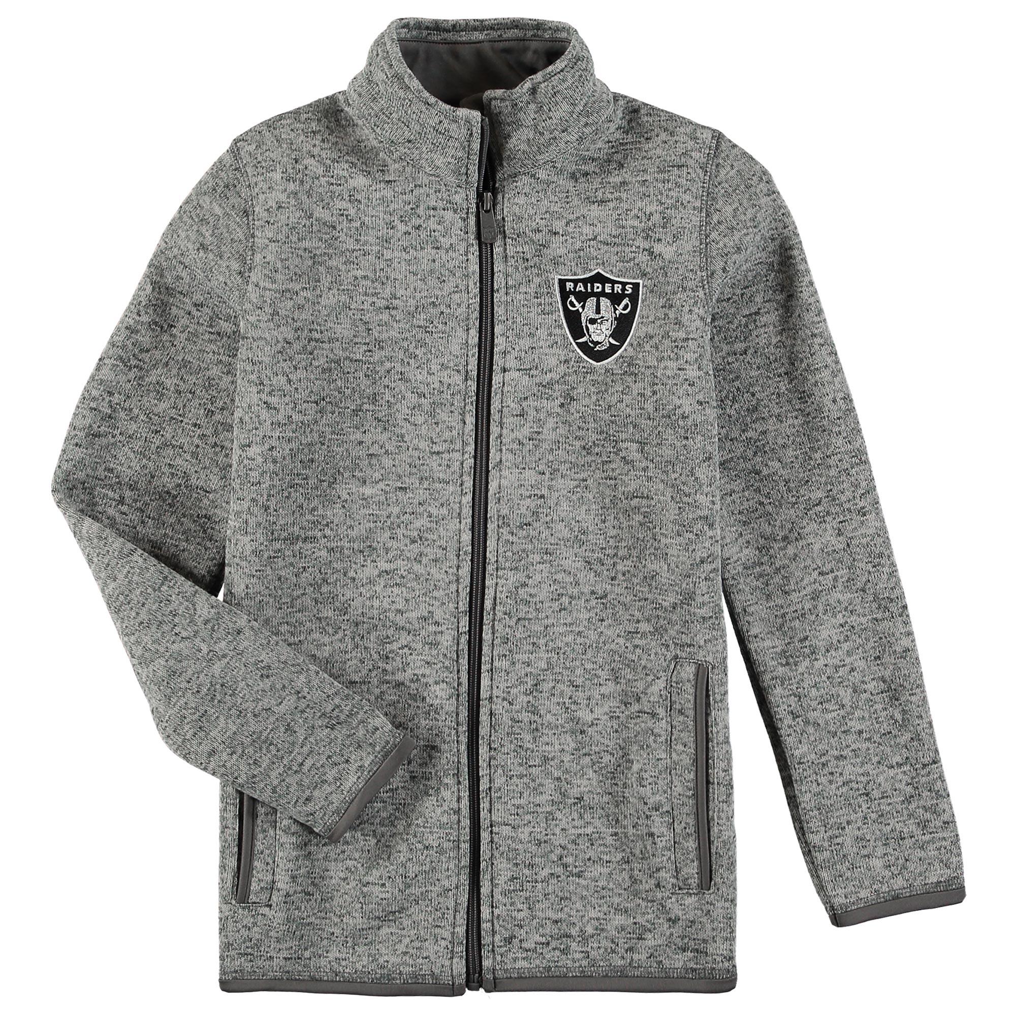 Oakland Raiders Youth Lima Full-Zip Jacket - Heathered Gray