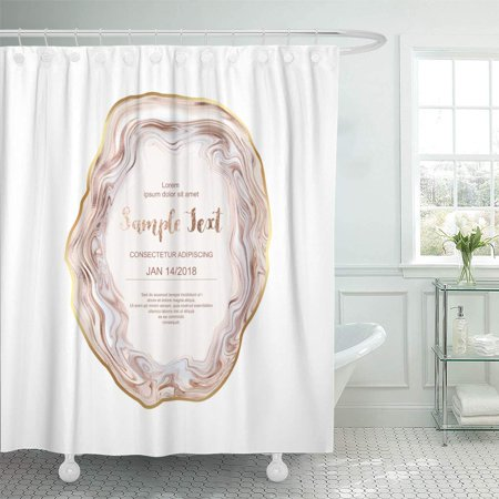 SUTTOM Pearl Pink Wedding Agate Slice Gemstone Gold Border Stone Shower Curtain 60x72 inch Pink Agate Slice