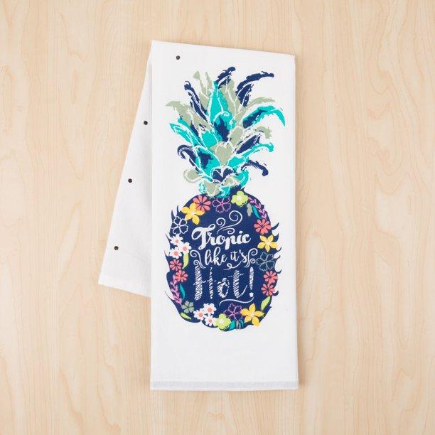 Mainstays Cotton Flour Sack 28 X 29 Pineapple Print Kitchen Towel Walmart Com Walmart Com