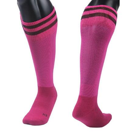 Lovely Annie Girls' 1 Pair Knee High Sports Socks for Baseball/Soccer/Lacrosse 003 XXS(Rose)